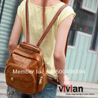 Vivian 2012 street popular portable multi-purpose backpack women's handbag vintage bag