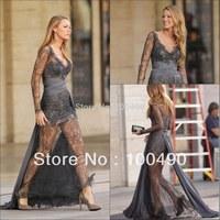 Sheer skirt Gossip Girl Blake Christina Lively Deep-V long sleeve Lace evening dress for Muslim