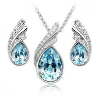 Hot Sale white gold plated austrian crystal jewelry sets wedding jewelry Free Shipping