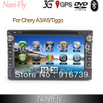 Car DVD For CHERY A3 A5 Tiggo built in GPS Navi Navigation Ipod rds radio player system High quality Free shipping