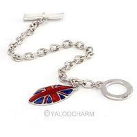 6pcs  Fashion silver Personalized British flag drip mouth bracelet 60348