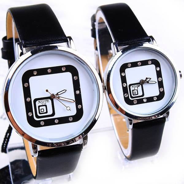 (Black&Brown&Red Colors) Fashion Casual Square Design Leather Strap Large Round Dial Quartz Wrist Watches for Lovers.Best Gift.(China (Mainland))