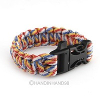 New Style Multicolor Paracord Survival rescue Hunting Camping Bracelet 60349