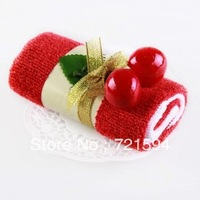 Free Shipping 100% Cotton Swiss Roll Creative Towels Cake Wedding Party gift Birthday gifts Advertising Gifts