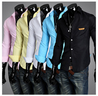Free Shipping 2013 new men&#39;s long sleeve shirt 5 Colors Sizes M-L-XL-XXL Wholesale and retail