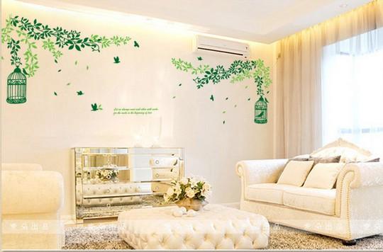 Grandes adesivos de parede sala parede TV sofá parede Creative Home Wallpaper gaiola de pássaro exótico(China (Mainland))