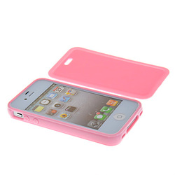 SOFT GEL TPU SILICONE SIDE FLIP HOLD FULL CASE COVER FOR APPLE IPHONE 4 4G 4S FREE SHIPPING(China (Mainland))