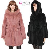 Fox fur rabbit fur long design hooded fur winter 2012 female plus size plus size with a hood outerwear