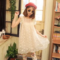 2013 female summer tassel perspectivity short-sleeve organza lace chiffon skirt one-piece dress e25