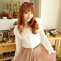 2013 women's big ruffle collar transparent white long-sleeve shirt chiffon shirt k048