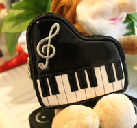 Music gift grand piano coin purse cosmetic bag key wallet wrist length zipper patent leather bag