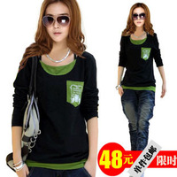 2013 spring new large size bottoming shirt long-sleeved t-shirt