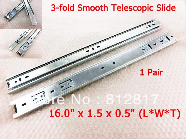 "2 Pcs 16"" Drawer Slides 3-fold Full Extension Side-mount Ball Bearing(China (Mainland))"