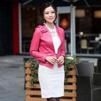 2013 slim blazer short design genuine leather sheepskin women's leather clothing
