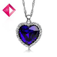 Neoglory Titanic Ocean Heart Crystal Pendant Necklace for Women Elegant Rhinestone Jewelry Wholesale Birthday Gift