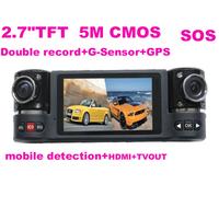 "FREE SHIPPING dual Lens Car cam DVR black box F60 Auto dash cam GPS H.264,SOS,1280x1440 30fp 5M 2 M CMOS 2.7"" TFT 16:9 RUSSIA"
