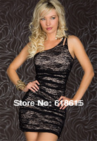 Top quality sexy lingerie double layer black lace one-shoulder dress underwear hot sell promotion women's skirt wholesale