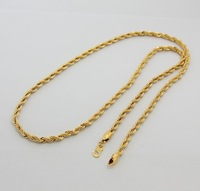 Width 3mm, Length 69.50cm, High Quality Copper with 24K Gold Plated Rope Long Chain Necklace for Men,Free Shipping