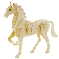 2014 New Promotion 10pcs/lot Chinese Zodiac Horse homdecor Gift popular handmade  decoration 3D diy wooden  puzzle  toys WJ0007