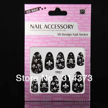 10pcs/Lot Unique Black Punk Rock Skull Chain PatternRhinestones  Halloween Party Tips Design Decoration 3D Nail Art Accessories
