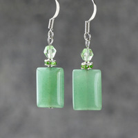 Earrings natural aventurine jade square fashion vintage elegant small earring female