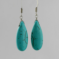 Turquoise earrings earring national trend ol personality seeds brief design long drop earring accessories