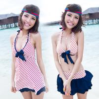 2013 Hot Spring Fashion Swimwear Female Small Cup Push Up Steel Split Skirt Women 3 Pieces Bikini Free Shipping