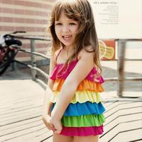 2013 Girls Swimwear Summer Child Swimsuit Multicolour Dress Cute Style Beachwear Bathing Suit