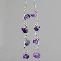 Tassel earrings natural amethyst long design earrings vintage drop earring jewelry