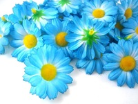 "24X  Gerbera Daisy Heads Artificial Silk Flower  1.75""  Blue"