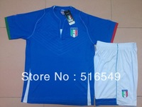 Can Customed!  2013/2014 Italy home blue soccer uniforms football soccer kits soccer jerseys &short free EMS/DHL 10set/lot