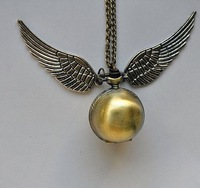 10pcs/lot Golden Snitch Steampunk Pocket Watch Necklace Harry Potter Quidditch Wing