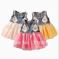 4pcs-Baby Girls Sleeveless Color matching Dress Children one piece dress kids summer dress 157L