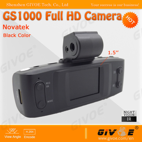 Novatek Similar GS1000 Full HD 25FPS Mini Driver Recorder DVR Camera With 120 degree wide angle+4x digital zoom+Free Shipping(China (Mainland))
