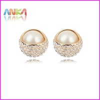 Pearl Stud Earring 18K Gold Plated Earrings Genuine SWA ELEMENTS Crystal Wholesale Free Shipping #94062