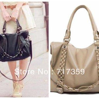 New Arrival 1pc/lot ,Free Shipping Black/Khaki Women Lady Faux PU Leather Hobo Purses Shoulder Bags Handbag  640222