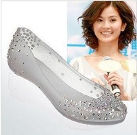 Free Shipping Ladies Melissa Chili Diamond Crystal flat heel Sandals Women Fish Mouth Transparent Jelly Shoes 2012