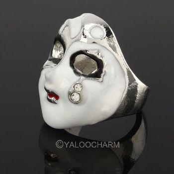 1pcs vintage Chinese style Mask rhinestone alloy ring finger ring 60365