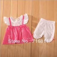 4sets-Baby Girls Pink Wave Point Short Sleeve Fake-2pcs dress+ pants, Kids/Children Summer 2 pcs set Clothes set,152L