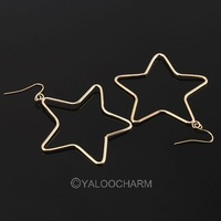 15pairs Fashion golden simple hollow Five-point Star eardrop earring dangle 60367