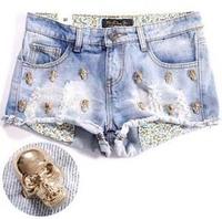 2013 Water Wash Roll-up Hem Metal Skull/Skeleton Leisure Summer Denim Shorts Women Hollow Out Sexy Brand Fashion Jeans Shorts