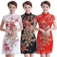 Hot Sale Chinese Vintage Fashion Exquisite Design Phoenix Embroidery Cheongsam Qipao Evening Dress White/Red/Black Size S-XXXL