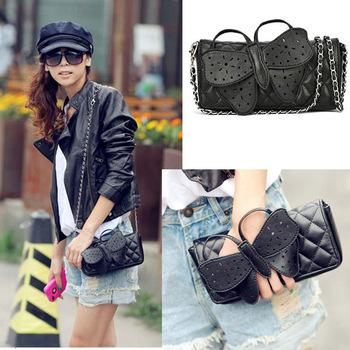 Fashion Designer  Women Butterfly bow-knot  Bow knot Clutch Purse Wristlet Evening Chain Wallet Handbag Shoulder Messenger Bags