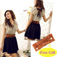 With belt! Fashion Women Lady Chiffon Dress Summer Short Dots Dress Polka Waist Mini Dress Backless, Free Shipping