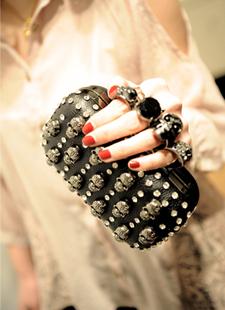 Miss suki 2013 women's handbag fashion punk pull style rhinestone ring bag shoulder bag(China (Mainland))