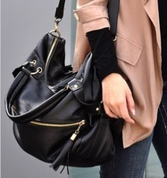 2012 large capacity bags fashion tassel rivet women's handbag shoulder bag oversized bags