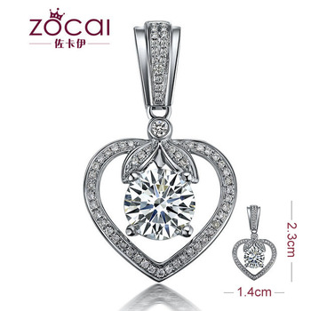 DEPOSIT FOR ZOCAI GUARDIAN OF LOVE 1.11 CT H / SI DIAMOND 18K WHITE GOLD HEART PENDANT + 925 STERLING SILVER  CHAIN NECKLACE