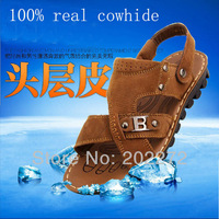 Free shipping 2013 summer men's comfortable sandals gladiator designer genuine leather brand fashion male leisure shoes outdoor