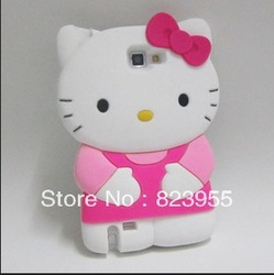 Wholesale 3D Hello Kitty Silicone Soft Back Cover Case For Samsung Galaxy Note i9220 N7000(China (Mainland))