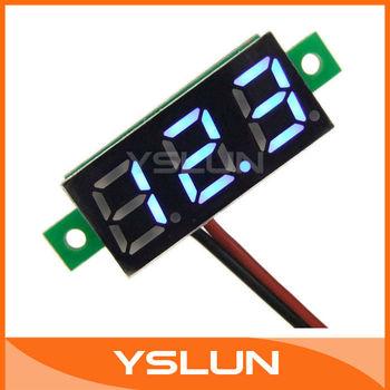 """20 PC S/LOT 0.28"""" Mini Blue Digital Voltmeter Blue LED 3.00~30VDC 12 V Voltage Monitor Panel Meter 3 Digit 2 wire # 090556"""